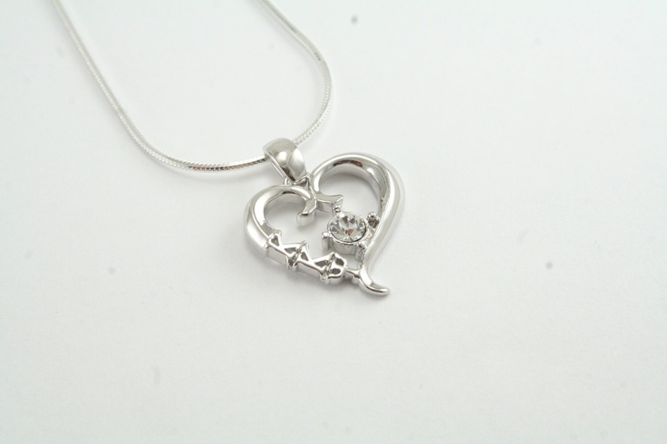 Kappa Kappa Psi Sterling Silver Heart Pendant set with a Swarovski Clear Crystal.