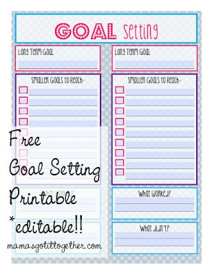 free editable goal setting printable home manage binder free