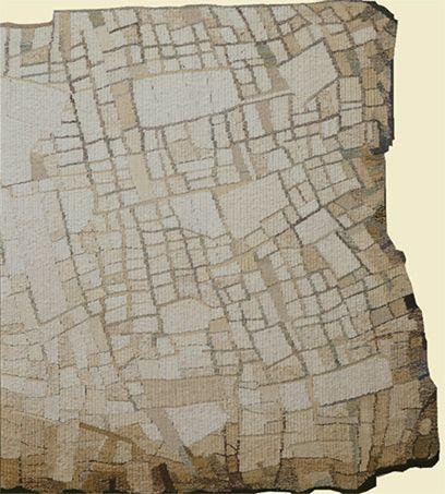 'Terra'  Sue Lawty  2004  Linen,hemp, silk  Width200 cm x height70 cm  © Sue Lawty