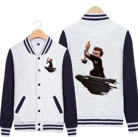 Cartoon Leonardo DiCaprio baseball jacket for teens plus size sweatshirt