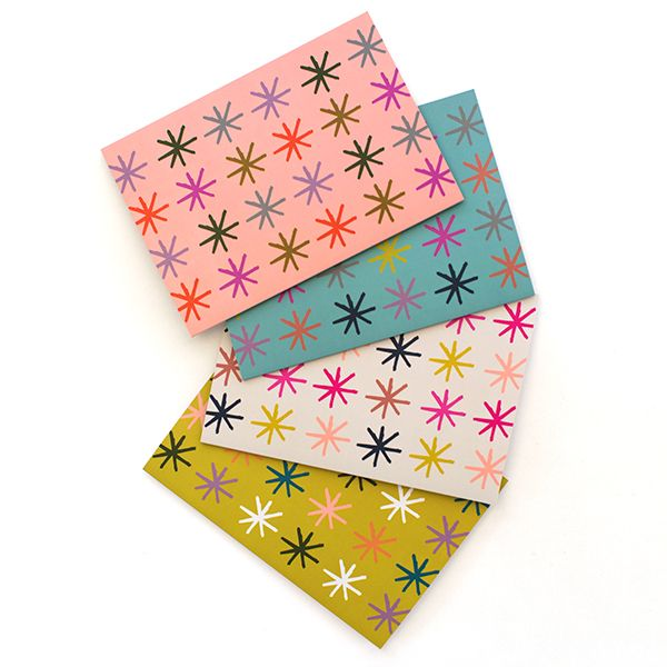Our set of 4 starry cards is perfect for any occasion!Colours: Peach, Mint, Cream and Citrus.A6 size (when folded) (5.8 x 4.1 inches) Blank InteriorPrinted on a matte 350 GSM white card packaged in a cello sleeve with a natural 100% recycled paper envelope. The card stock is produced with ECF pulp and is FSC Mix Certified.MA and GRANDY cards are designed and printed in Brisbane, Australia.Your order will be sent in a padded bag via Australia Post. Please allow ...