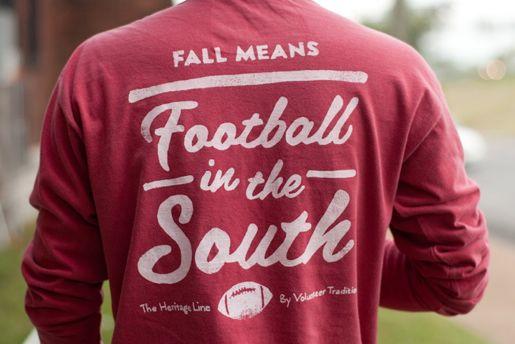Fall Football Long Sleeve Tee/ Crimson with White