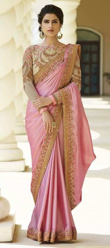 722291 Pink and Majenta  color family Embroidered Sarees, Silk Sarees in Silk fabric with Bugle Beads, Lace, Machine Embroidery, Resham, Stone, Thread, Zari work   with matching unstitched blouse.