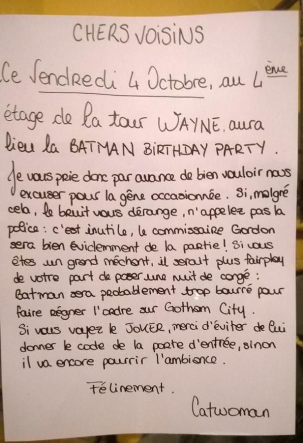 message de voisinage batman party voisinage batman et messages. Black Bedroom Furniture Sets. Home Design Ideas