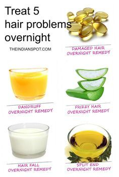 DIY hair treatments for dandruff, damaged hair, frizz, hair loss and split ends! Nightime