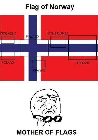 flag of norway (and indonesia and poland and finland and france and the netherlands and thailand). know your meme.