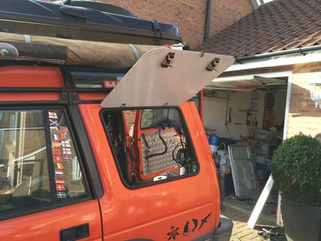 The configuration I wanted for the new boot storage layout required side access. I had planned, for many months, to replace the rear side windows with lift up hatches similar to those found on some Defenders. This is a step by step guide as to how I did it. Parts required: 2 off Aluminium sheet…