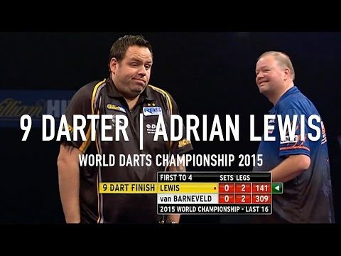 Dart Player Adrian Lewis Scores a Rare Perfect Nine-Dart Finish During the 2015 World Darts Championship