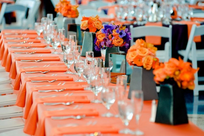 Long head table, Cable Center wedding, orange and purple wedding, Real Colorado wedding, Elevate Photography