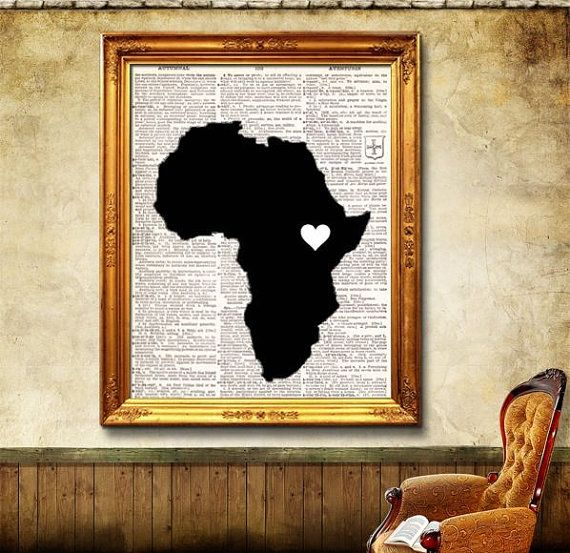 I Love Africa Heart Print vintage dictionary book page art print // .. instead of dictionary pages write about my experience in Zim