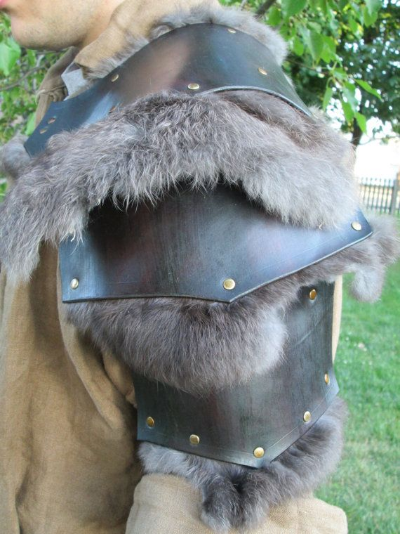 Medieval Leather Shoulder Armor Spaulder by FolkOfTheWoodCrafts