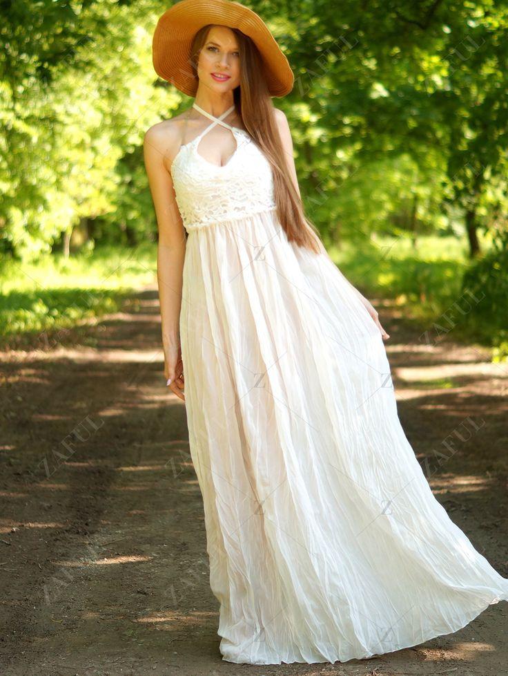 Lace Spliced Backless Maxi Dress