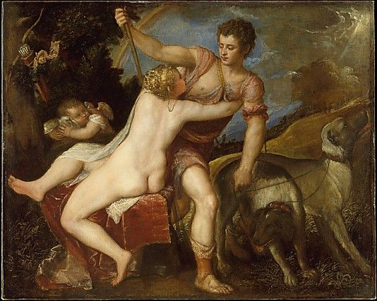 Titian (Tiziano Vecellio) (Italian, ca. 1485/90?–1576). Venus and Adonis. The Metropolitan Museum of Art, New York. The Jules Bache Collection, 1949 (49.7.16): Hunting Dogs, Titian Venus, Titian Tiziano, Tiziano Vecellio, Italian Renaissance, Art History, Adoni, Metropolitan Museums, Oils On Canvas