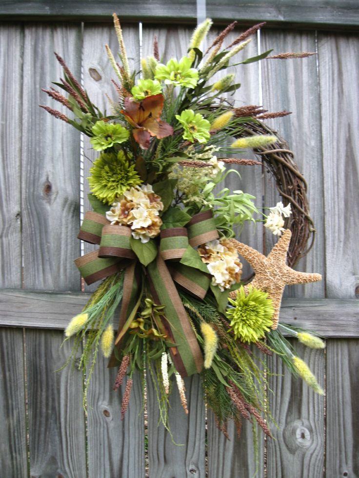 Masculine Seaside Coastal Wreath In Green And Brown Irish Girl S Wreaths Pinterest Coastal
