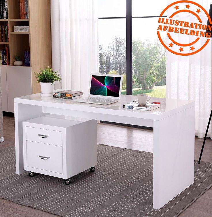 Bureau Droit Design U0027POLARu0027 En Bois Peint Blanc   Alterego