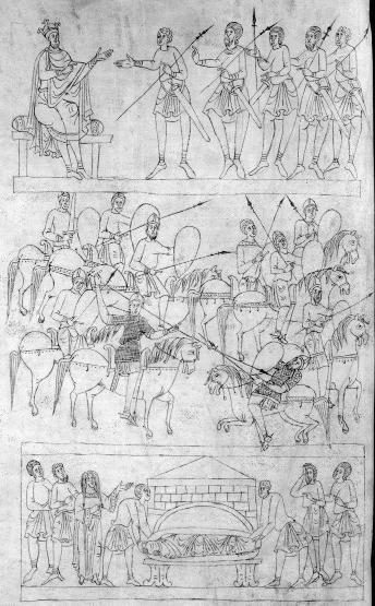 Biblia Sancti Petri Rodensis or Roda Bible, c.1050-1100AD. Alcimus and Demetrius I/ Battle of Béerzeth (161BC)/ Funeral of Judas Maccabeus.