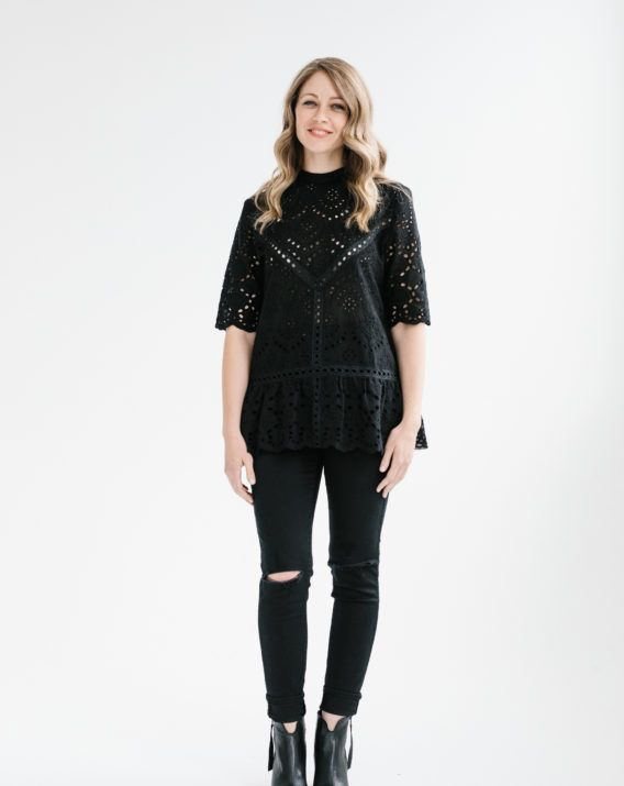 Summer Bloom Lace Top - Black - Blossom & Glow