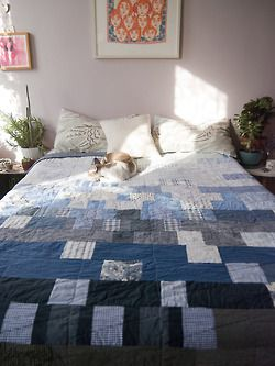 "Denim and blues quilt - 70"" x 82"""