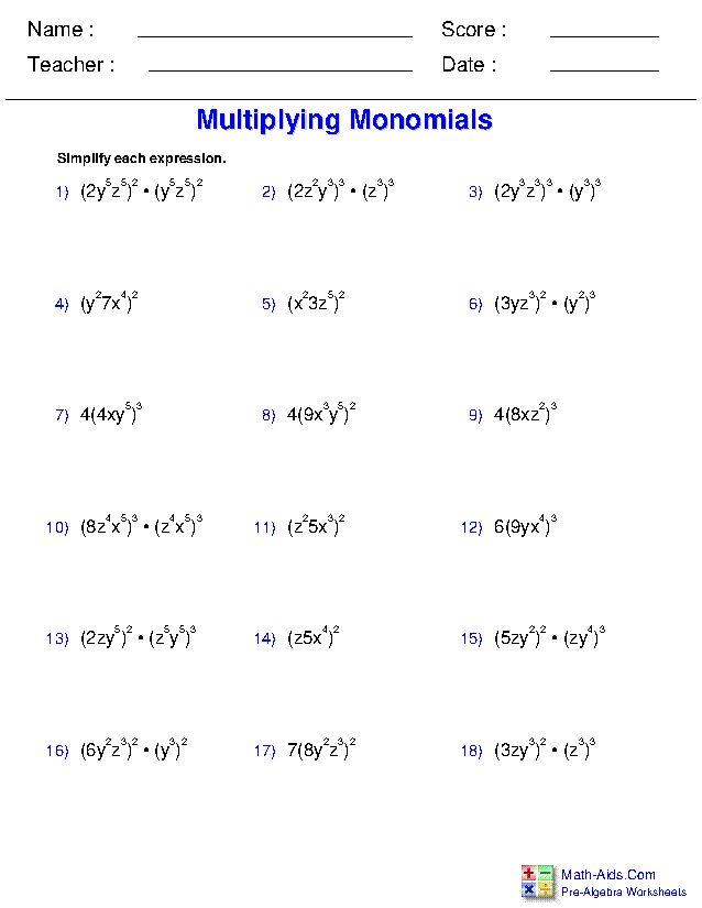 Pre-Algebra Worksheets | Monomials and Polynomials ...