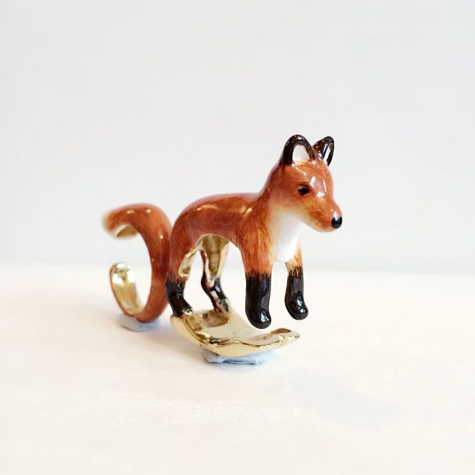 Orange Fox 2 Piece Ring Set