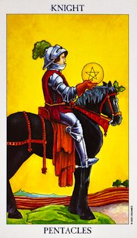 Knight of Pentacles Tarot Card Meanings Keywords    Upright: Efficiency, routine, conservatism, methodical    Reversed: Laziness, boredom, feeling 'stuck'