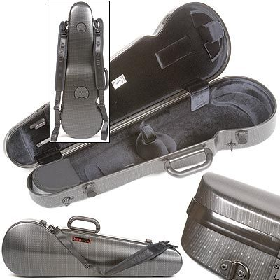 Bam Contoured Hightech 4/4 Violin case, Black Lazure at Johnson String Instrument