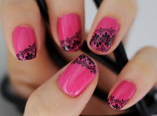 glitterM - You Nailed It!: Hot Pink & Black Lace