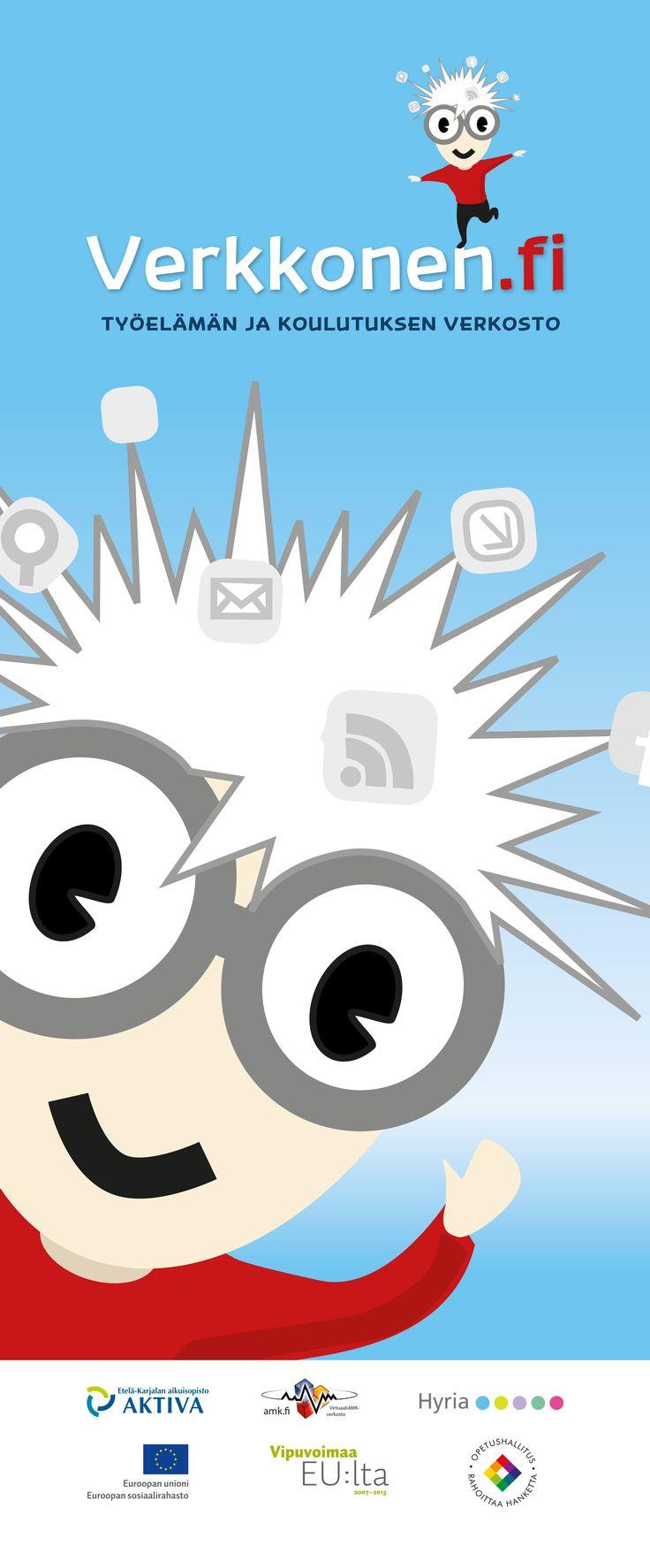 Verkkonen.fi -hankkeen logon ja graafisen ilmeen suunnittelu sekä painotuotteiden kuten esitteen ja roll upin suunnittelu ja toteutus. 2012