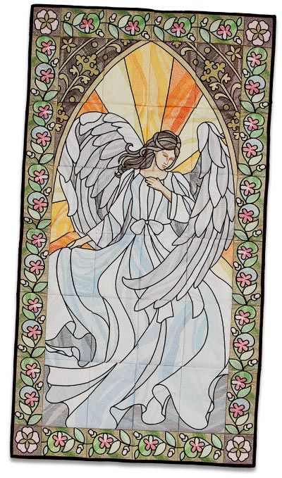 This stunning angel belongs in your home!  Celestial Stained Glass Tiling Scene #12605 #embroidery #tilingscene