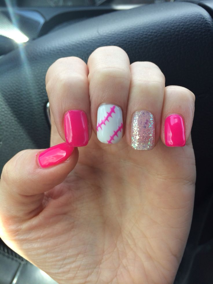 My softball and baseball nails. Perfect nail art for a softball mom and  Texas rangers - 7 Best Images About Softball Designed On Pinterest Baseball, Nail