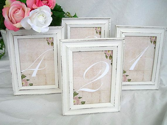9 best Shabby Chic White Distressed Wood Table Number Wood Frame ...