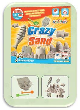 Com o Novo CRAZY SAND Descobre: - O que são átomos e moléculas - Os estados e transformações da matéria - O que são polímeros - Como é constituída a areia  - Como te poderás divertir a fazer fantásticas esculturas de areia