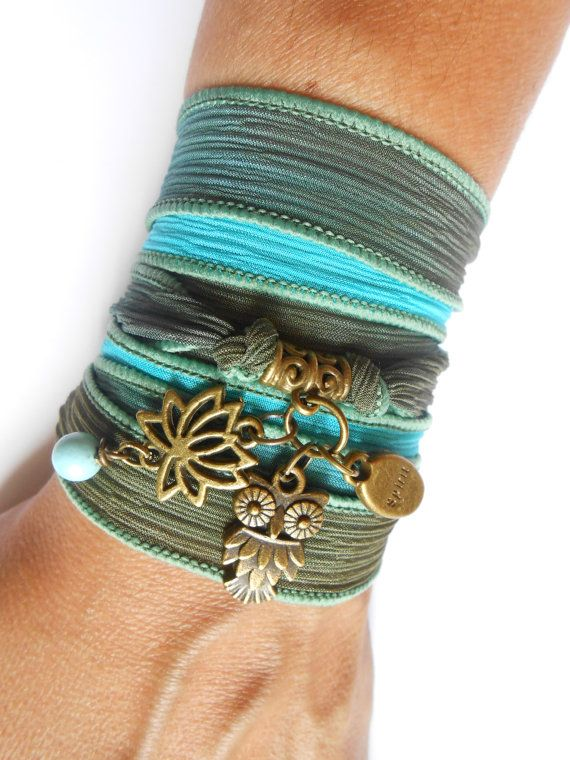 Owl lotus Silk Wrap bracelet Lotus Yoga jewelry Spiritual by HVart, $29.90