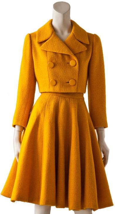 Norman Norell suit, early 1960s - cropped jacket with big buttons and a flared skirt in bright orange!