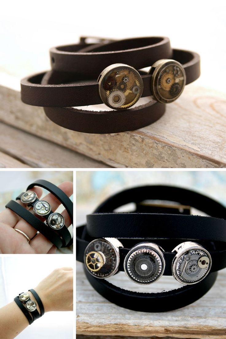 Cog and gear leather wrap bracelet made of black genuine leather