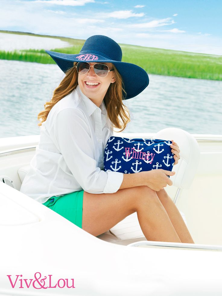 viv  u0026 lou  monogram navy anchor accessory bag        vivandlou com  navy