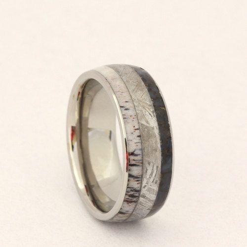 Beautiful Dinosaur Bone Meteorite and Deer Antler Ring WP by jewelrybyjohan Alternative Wedding Band for Men