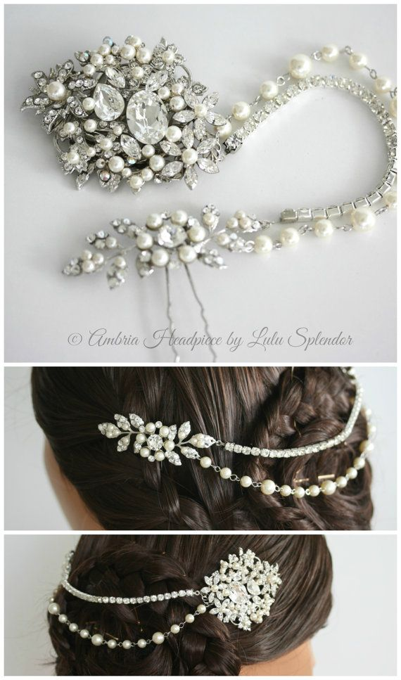 Wedding Headpiece Bridal Hair Accessory Hair Piece with Swarovski Crystal Pearl Hair Chain AMBRIA HP