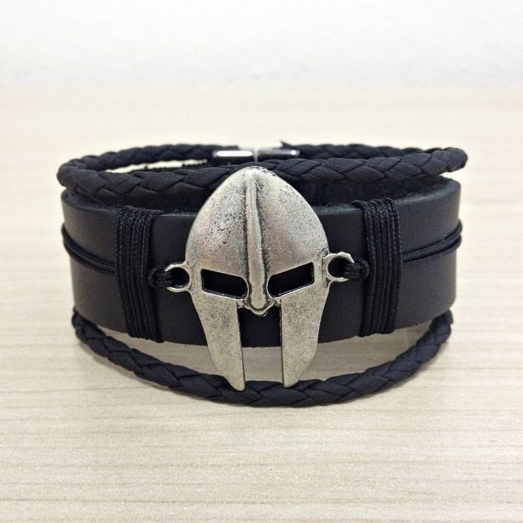 Pulseira Masculina Couro Mascara Leonidas Esparta 300 mens bracelets moda fashion leather homem style pulseirismo cocar brasil