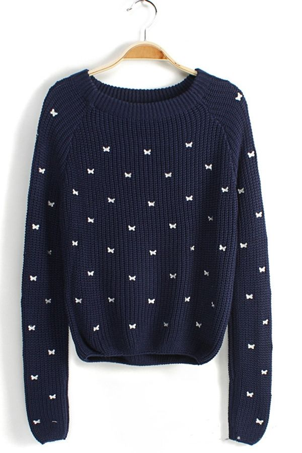 Sweet Bowknot Embroidered Sweater - OASAP.com