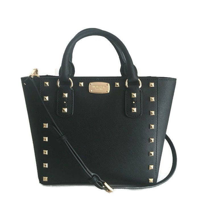 1c426bbc5f30d8 Michael Kors Sandrine Small CROSSBODY Bag ~ BLACK Leather Gold Studded ~  NWT #MichaelKors #MessengerCrossBody
