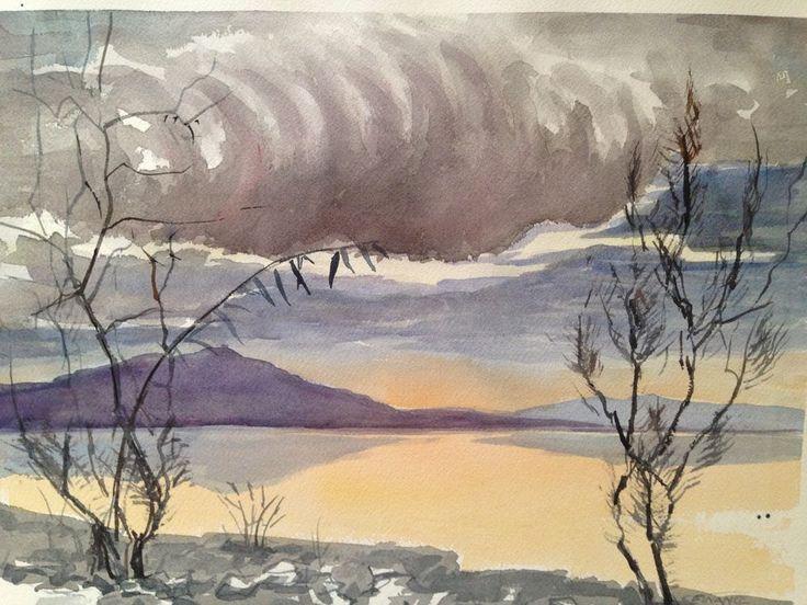 Original Signed Watercolor by C. Finance - California Artist - Landscape Lake