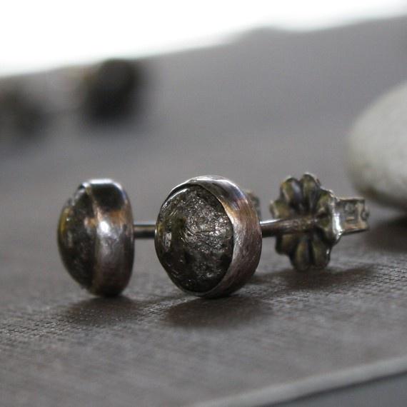 Small Pyrite Ear Studs in Sterling by LoreleyJewelry on Etsy, $25.00