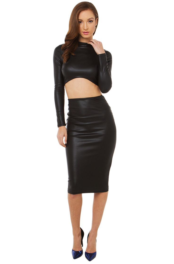 right is sweet faux black leather midi