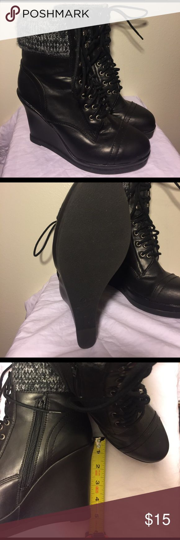 Black Wedge Boots Black Wedged Boots, Sweater pattern on top, Size 8, NEVER WORN Mossimo Supply Co Shoes Ankle Boots & Booties