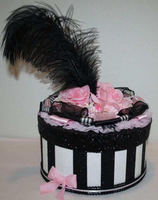 """""""My Fair Lady"""" .Beautiful GIFT BOX/ Cake Topper/Centerpiece with Pink Peonies, velvet ribbon, 9"""" round by 4""""tall. #decoratedgiftboxes #handmadegiftboxes #decoratedboxes #centerpieces"""