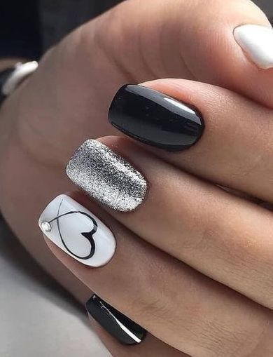 Sophisticated nail art design with a heart, #design #heart #sophisticated, Nail …