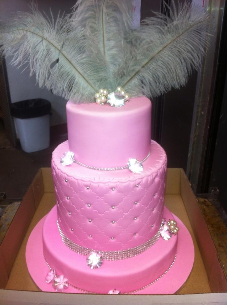 Tall Pink Birthday Cake