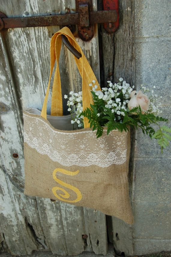 Burlap and Lace Monogramed Bridesmaid Bag by SarahNanDesigns, $25.00