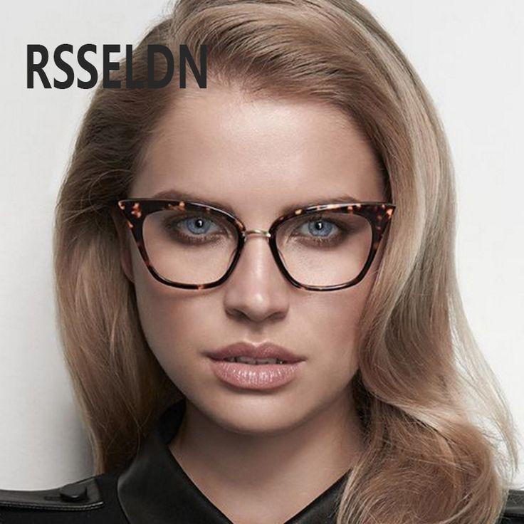 RSSELDN Women cat eye Eyewear Frames Amber brand designer Computer Glasses Frames  cat eye glasses oculos glasses frames